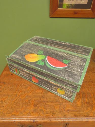 Shabby Chic Folk Art Painted Writing Slope Box with Fruit, Recipe Storage (1 of 14)
