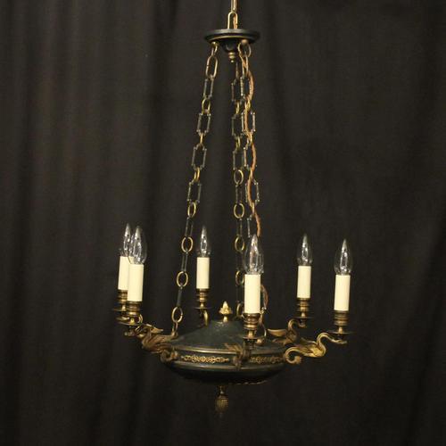 French Gilded Brass Empire 6 Light Chandelier (1 of 10)