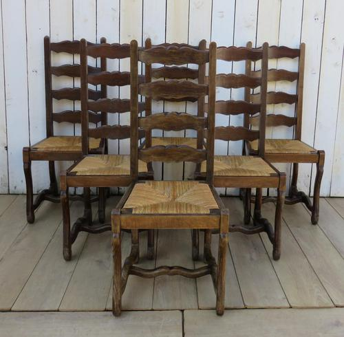 Six Oak & Rush Seated Os De Mouton Dining Chairs (1 of 8)
