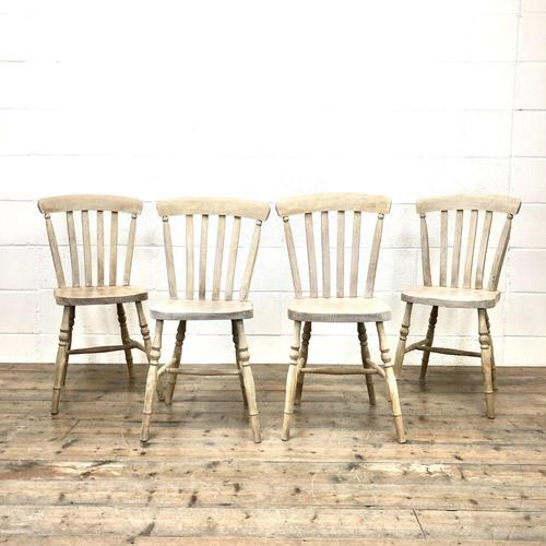 Set of Four Antique Beech & Elm Farmhouse Dining Chairs (1 of 8)