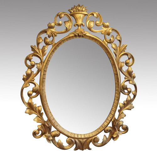 Antique Carved Oval Gilt Mirror (1 of 7)