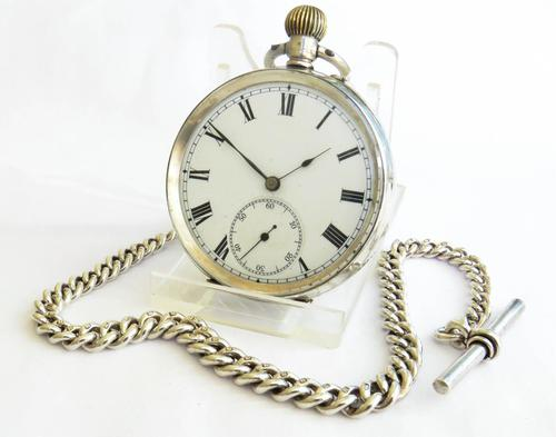 Antique Silver Pocket Watch & Chain (1 of 6)