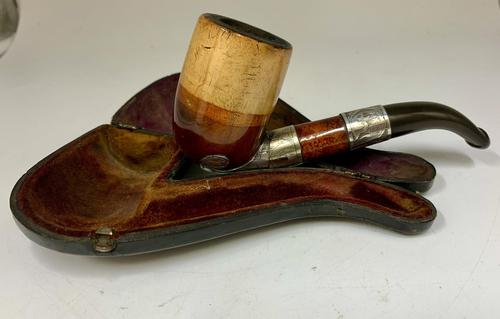 Antique Silver Mounted Smokers Pipe c.1910 (1 of 5)