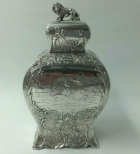Victorian Lion Topped Sterling Silver Tea Caddy Embossed Romantic Scenes 1900 (1 of 10)
