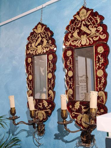 Pair of Venetian Mirrors with Applique, 1880 (1 of 9)