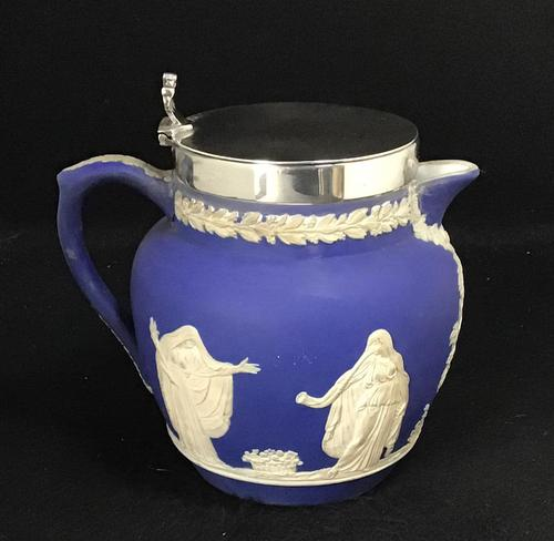 Victorian Blue and White With Silver Plated Lid Jug by Adams (1 of 6)