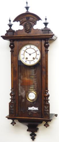 Antique Rocket Cased Single Walnut 8-Day Vienna Regulator Wall Clock by Lenzkirch (1 of 8)