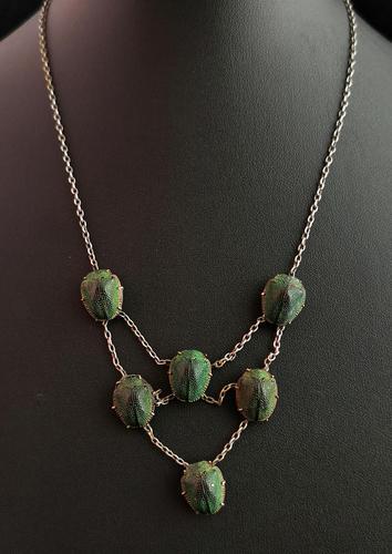 Art Deco Real Scarab Beetle Festoon Necklace (1 of 12)