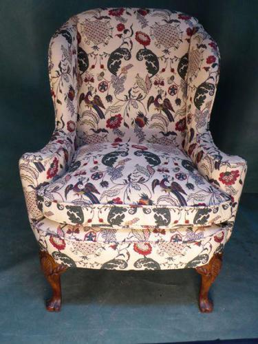 Floral Wing Chair with Carved Slipper Feet (1 of 1)