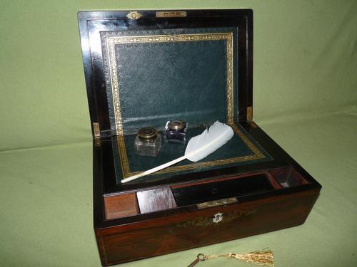 Fine Quality Inlaid Rosewood Writing Box c.1870 (1 of 11)