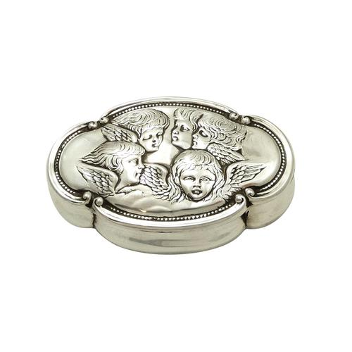 Antique Victorian Sterling Silver 'Cherub' Ring Box 1898 (1 of 9)