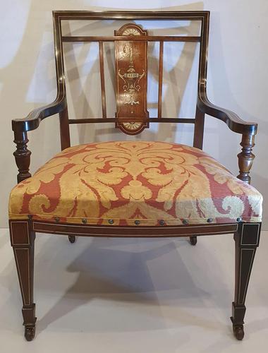 Edwardian Inlaid Rosewood Nursing or Bedroom Armchair (1 of 5)