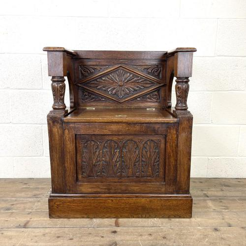 Early 20th Century Antique Carved Oak Hall Seat (1 of 13)