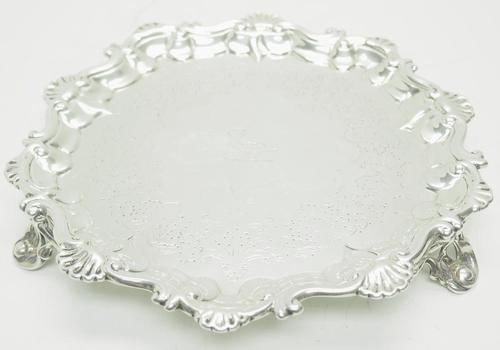 English Antique Solid Silver Salver, Super Design Fresh & Clean c.1846 (1 of 6)