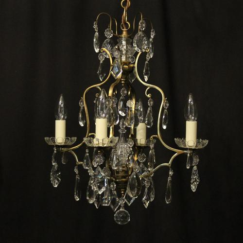 French Gilded 4 Light Cage Antique Chandelier (1 of 10)