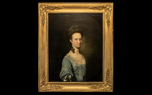 Portraight of Elegant Lady in a Blue Silk dress in the Manner of Arthur Devis (1 of 2)