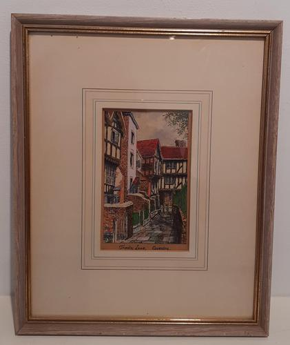 Water coloured Ink drawing of Coventry, Trinity Lane (1 of 3)