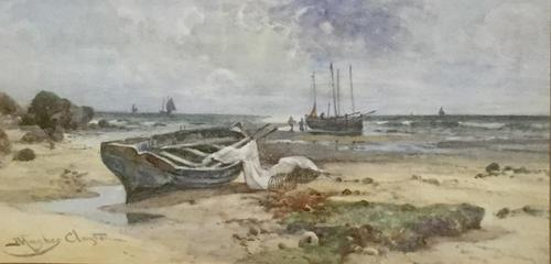 Joseph Hughes Clayton Watercolour - Beach Scene with Fishing  Vessels (1 of 2)