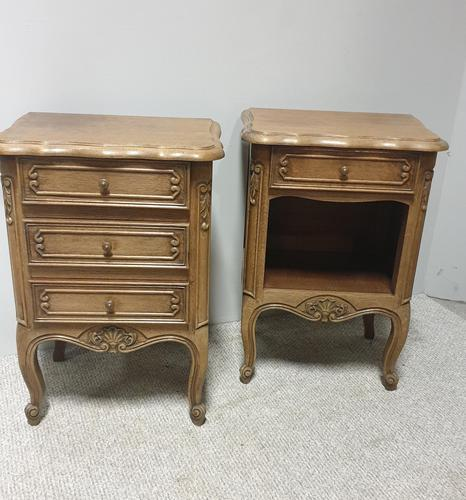 Pair of French Bleached Oak Bedside Cabinets (1 of 5)