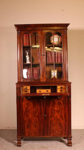 Small English Bookcase With Secretaire From The 19th Century In Mahogany (1 of 11)