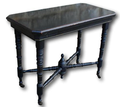 Victorian Ebonised Fold Over Card Table On Original Casters (1 of 5)