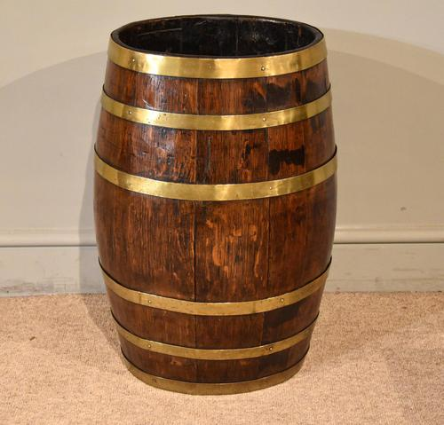 19th Century Oak & Brass Barrel / Stick Umbrella Stand (1 of 6)