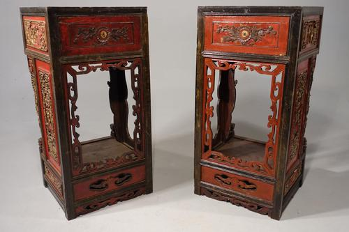 Quite Rare Pair of Late 19th Century Oriental Tall Stands (1 of 5)