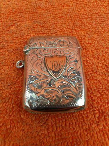 Antique Sterling Silver Hallmarked Vesta 9ct Gold Cartouche 1911, Smith & Bartlam (1 of 9)
