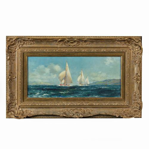 Pair of Oil Paintings of Clyde One Design Yachts Racing by Frank Henry Mason (1 of 12)