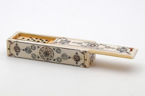 Antique Miniature Bone Dominoes in Case Napoleonic (1 of 3)