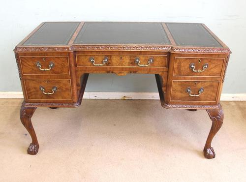 Quality Burr Walnut Kneehole Writing Desk (1 of 15)