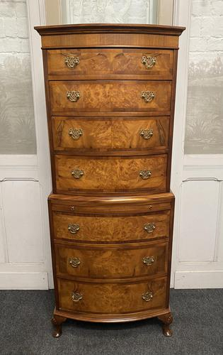 Bow Front Burr Walnut Chest on Chest of Drawers (1 of 13)