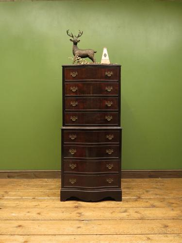 Antique Reproduction Serpentine Chest of Drawers, Chest on Chest by Hekman USA (1 of 17)
