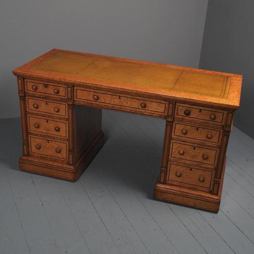 Victorian Birds Eye Maple Kneehole Pedestal Desk (1 of 17)