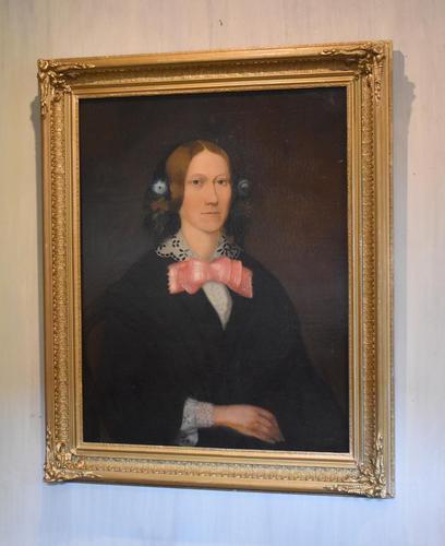 Victorian Naïve Portrait Oil Painting of a Lady (1 of 9)