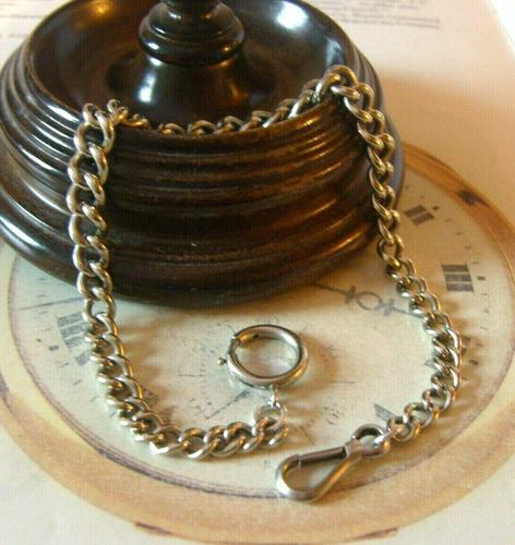 Antique Pocket Watch Chain 1890s Victorian Large Silver Nickel Graduated Link Albert (1 of 10)