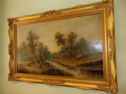 Large Victorian Oil Landscape by W.Wilson (1 of 5)