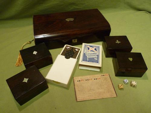 French Inlaid Rosewood Games Box + Accessories c.1880 (1 of 11)