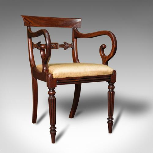 Antique Elbow Chair, English, Mahogany, Carver, Drop-in Seat, Regency c.1820 (1 of 12)