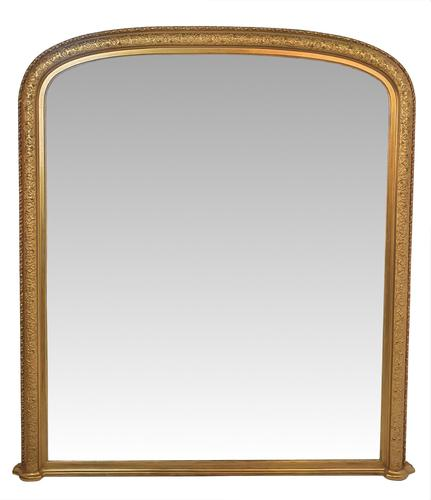 19th Century Gilt Large Size Overmantle Mirror (1 of 3)