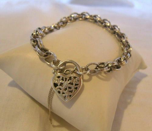 "Vintage Silver Bracelet 1970s Ornate Heart Padlock 7 1/2"" Length 13.3 Grams (1 of 11)"