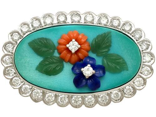 0.55ct Diamond, Malachite, Coral & Jade Brooch - Vintage c.1960 (1 of 9)