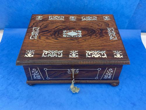 William IV Rosewood Box With Mother Of Pearl Inlay (1 of 14)