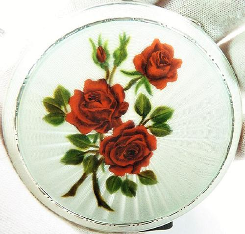 Solid Silver Handbag Mirror Red Roses 1955 (1 of 8)