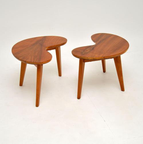 Pair of Vintage Walnut Kidney  Side  Tables (1 of 9)