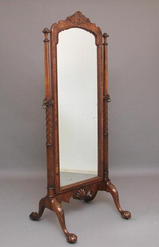 Early 20th Century Burr Walnut Cheval Mirror (1 of 13)