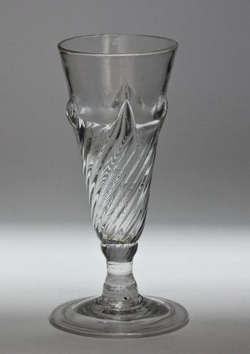 Georgian, English, wrythen-moulded flammiform dwarf ale glass (1 of 3)