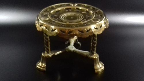 Antique Victorian Pierced Brass Trivet Kettle Stand (1 of 10)