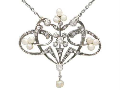 Natural Pearl & 0.94ct Diamond, 9ct Yellow Gold Pendant - Antique Victorian (1 of 9)
