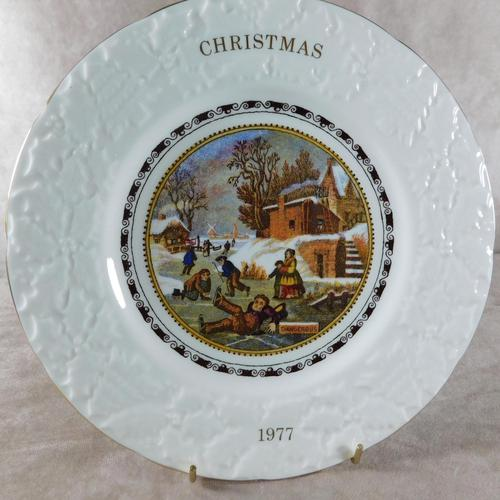 """""""Dangerous Skating"""" Christmas Plate by Coalport (1 of 4)"""